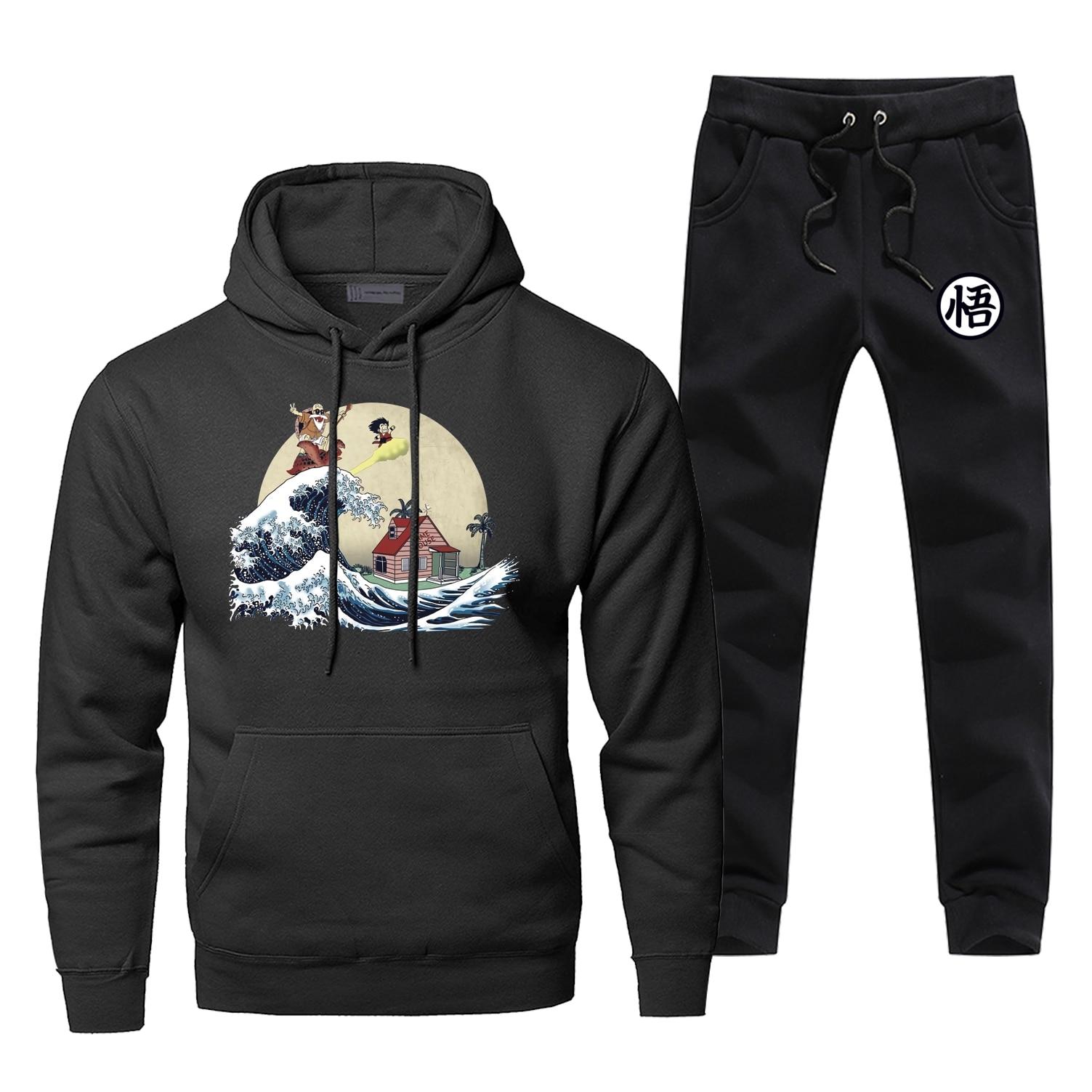 Classic Japan Anime Hoodies Dragon Ball Ocean Waves Master Roshi Men's Fleece Hoodie+pants  Sets Casual Winter Warm Sportswear