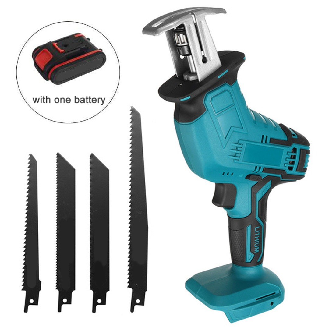 18V Cordless Electric Reciprocating Saw Adjustable Speed Saber Saw For Wood Metal Cutting with Blades Battery Electric Saw