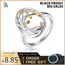 SA SILVERAGEแท้ 925 Sterling Silverชีวิตต้นไม้Engagemantงานแต่งงานแหวนเงิน 925 สีชุบแหวนผู้หญิง