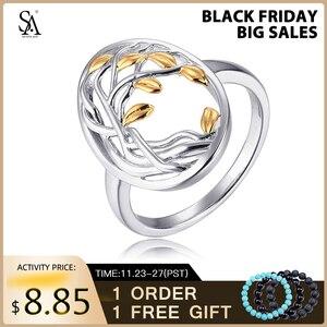 Image 1 - SA SILVERAGE otantik 925 ayar gümüş hayat ağacı şekli nişan alyans 925 gümüş altın renk kaplama yüzük kadın için