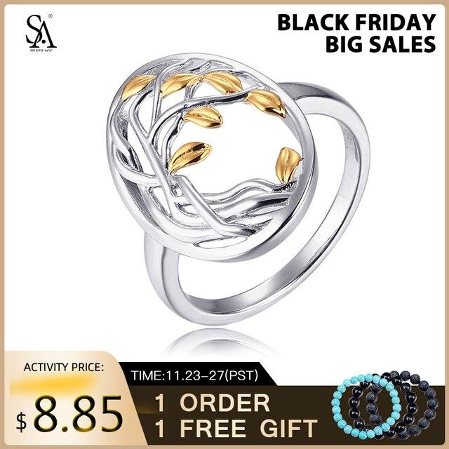 SA SILVERAGE otantik 925 ayar gümüş hayat ağacı şekli nişan alyans 925 gümüş altın renk kaplama yüzük kadın için