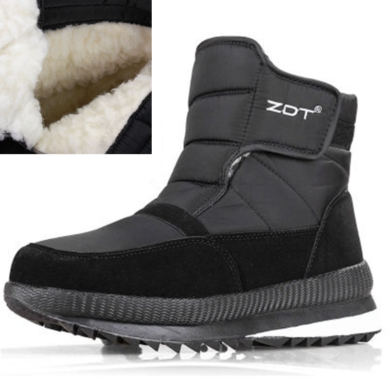 36-47 Men's Winter Ankle Boots Thick Wool Super Warm Snow Boots Male Non-slip Platform Booties Outdoor Waterproof Cotton Boots