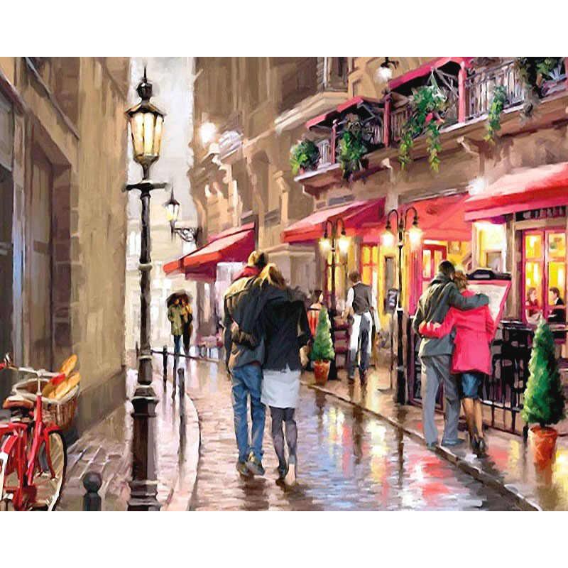 Картина по номерам DIY доставка Романтический уличный пейзаж холст льняная