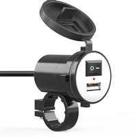 Cargador USB para coche y motocicleta, bricolaje, cc 12V, con interruptor, encendedor de cigarrillos, enchufe, cargador de teléfono impermeable