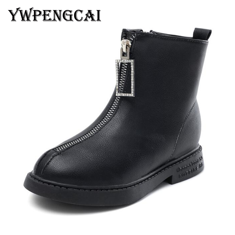 2019 Autumn Winter Kids Martin Boots Big Girl Ankle Leather Boots European Style Short Fur Girls Boots White, Black
