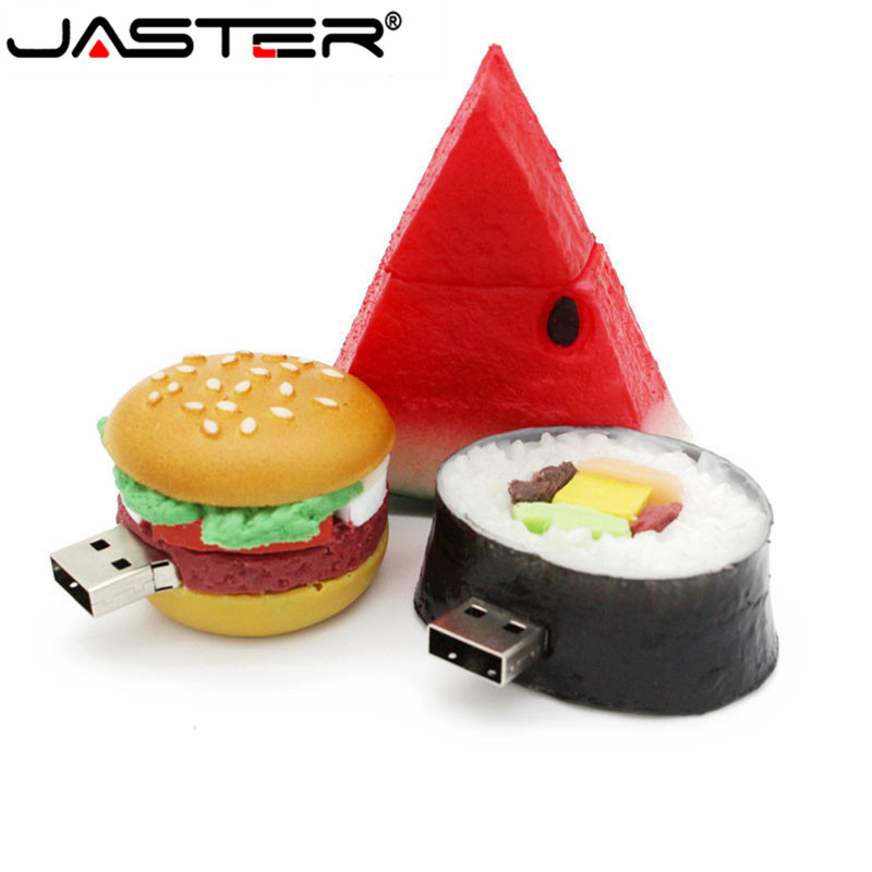 JASTER Stylish New Cartoon Fruit Burger Watermelon USB Memory Stick 4GB 8GB 16GB 32GB 2.0 %100 Actual Capacity