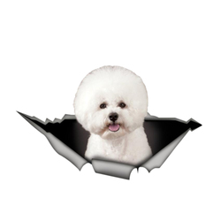 Beautiful Car Sticker 3D Pet Bichon Frise Animal Decal Car Window Accessories Car Styling PVC 13cm X 8cm