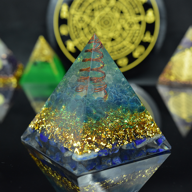 Elite Aura Crystal Orgone Pyramid Natural Stone Crystal Lapis Lazuli Orgonite Emf Protection For Chakra Healing Energy Generator