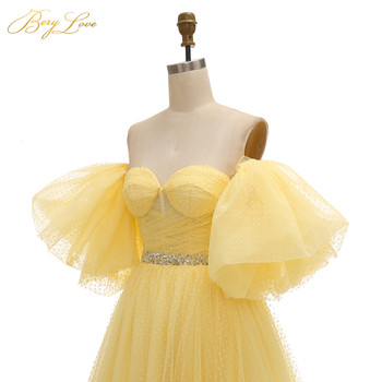 BeryLove Bright Yellow Prom Dress 2019 Pink Dot Tulle A-line Long Party Dress Formal  Latter Sleeves Elegant Dresses Vestido 5