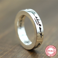 s925 sterling silver ring personalized classic fashion couple style letters around the simple retro hipster jewelry