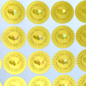 Image 1 - ארצות הברית של אמריקה הולוגרמה מדבקות 20mm זהב כסף חדש עיצוב הולוגרפית ביטחון מדבקות VOID לאחר להסיר