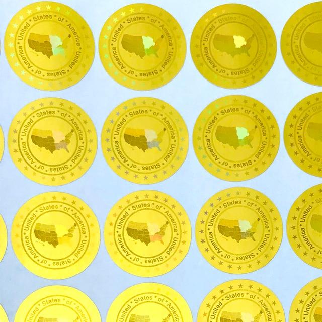 ארצות הברית של אמריקה הולוגרמה מדבקות 20mm זהב כסף חדש עיצוב הולוגרפית ביטחון מדבקות VOID לאחר להסיר
