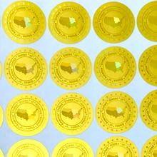 Verenigde Staten Van Amerika Hologram Stickers In 20 Mm Goud Zilver Nieuwe Ontwerp Holografische Beveiliging Stickers Leegte Na Verwijderd