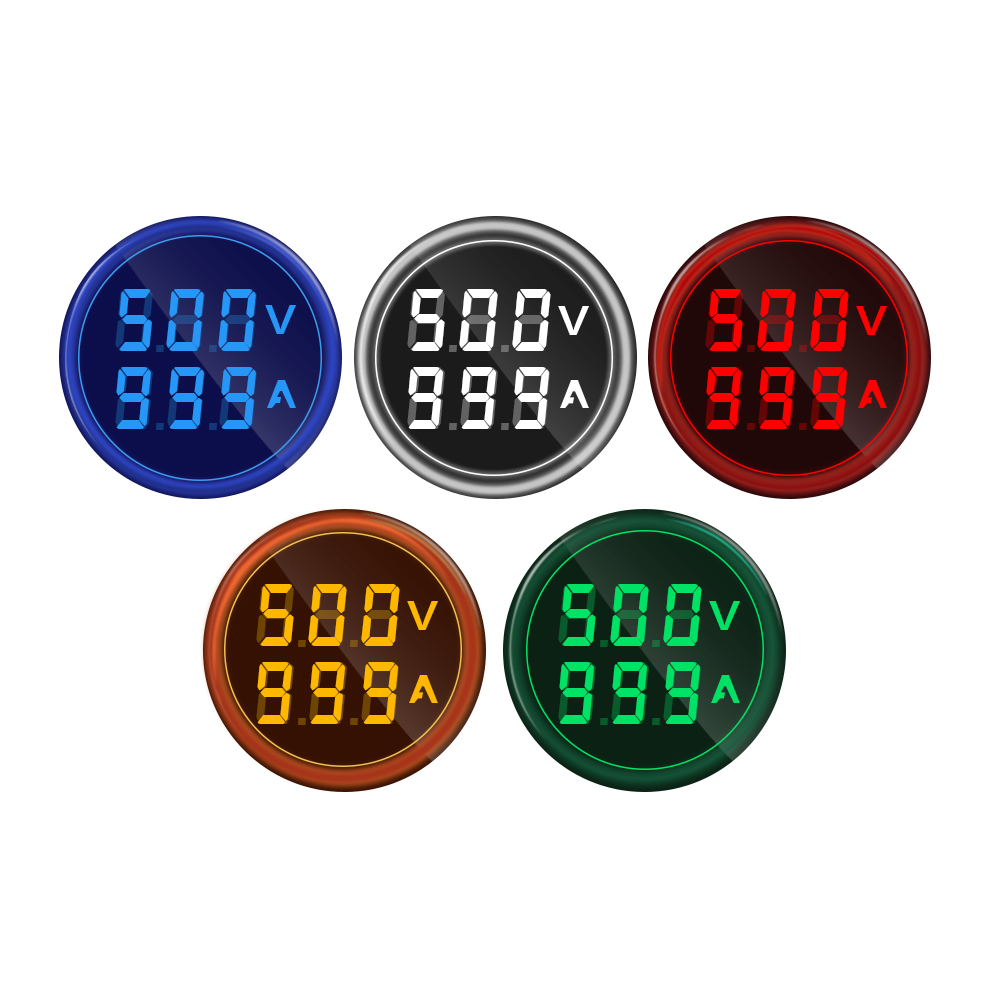 Mini Digital Voltmeter Ammeter 22mm Square AC 50-500V 0-100A Amp Volt Voltage Tester Meter Dual LED Indicator Pilot Lamp Light