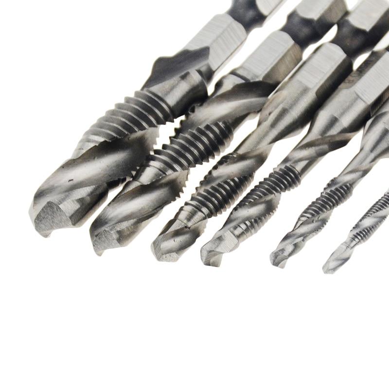 Hand Tap Drill Hex Shank HSS Composite Screw Spiral Point Thread Metric Drill Bits M3 M4 M5 M6 M8 M10 Hex Composite Thread Drill