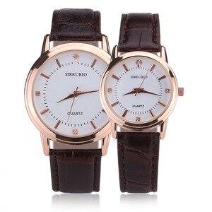 Модные парные кварцевые часы parejas, коричневые часы с кожаным ремешком и круглым циферблатом, часы для влюбленных, erkek kol saati