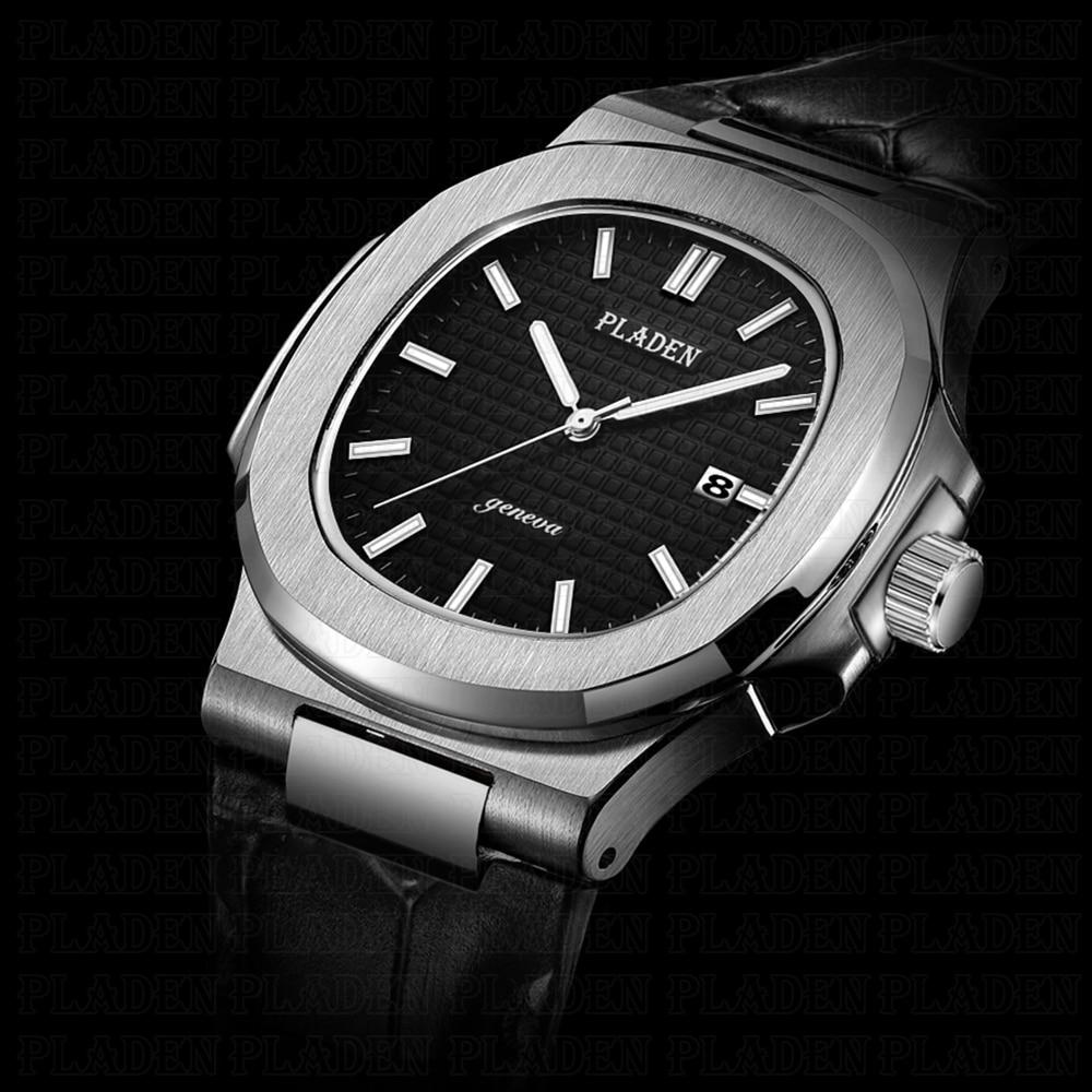 PLADEN мужские часы 2019 Роскошные брендовые черные часы из нержавеющей стали с циферблатом Aquanaut мужские кожаные японские кварцевые часы Movt Geneva