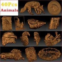 40_pcs_animals 3d stl modelo alívio para roteador cnc aspire artcam _ animal