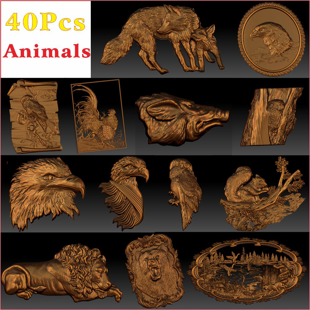 40_Pcs_Animals 3d STL Modell Erleichterung für CNC Router Aspire Artcam _ Tier