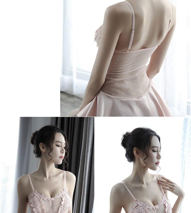 Volwassen lingerie Mooie nachtjapon met bretels Bedgown groothandel - 2