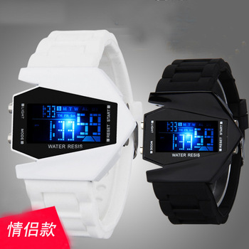 Fashion Personality Student Electronic Watch Colorful LED Multifunctional  Plane Coupl Watch