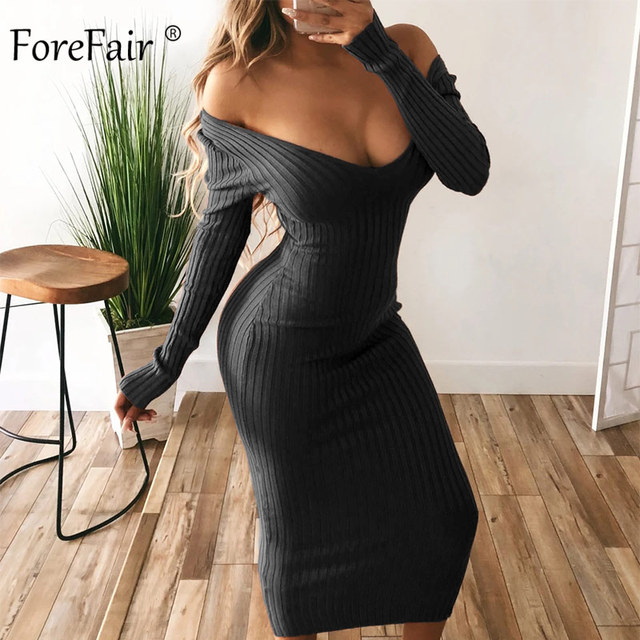 Forefair Long Sleeve V Neck Bodycon Ribbed Knit Dress Women Autumn Winter Solid Slim Midi Women Dress 3