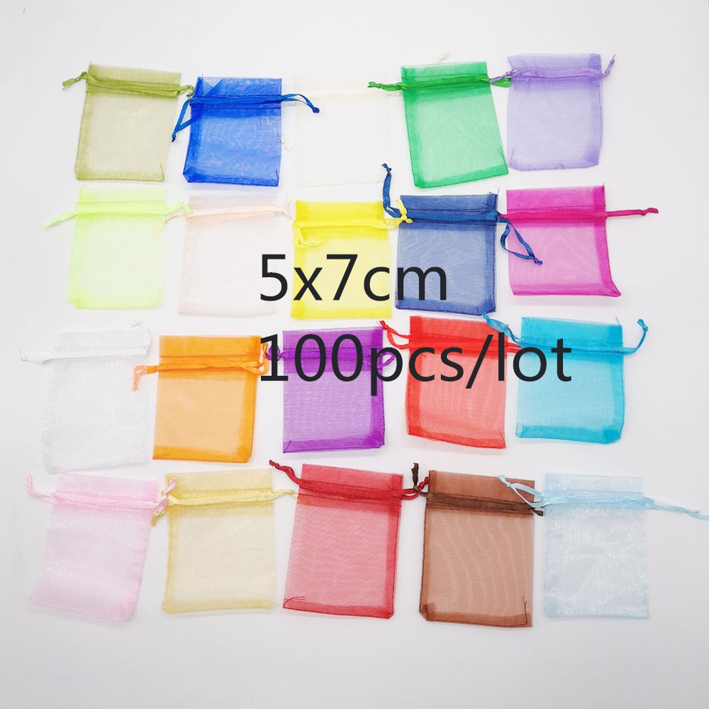 100pcs Jewellery Bag 5x7cm Jewelry Packaging Organza Jewelry Bags Drawstring Organza Bags Gift Packaging For Jewelry Pouches