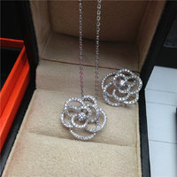 Fashion 925 sterling silver pendant flower necklace for women wedding bridal jewerly