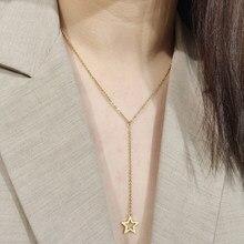 DOTIFI для женщин, ожерелье, полая пентаграмма, длинная цепочка, кулон из нержавеющей стали, модное ювелирное изделие, подарок для друзей T57