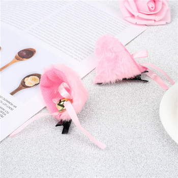 2Pcs/Lot White Black Cat Ears With Bell Hair Clip Cosplay Party Fox Long Fur Costume Hair Clip Halloween Gift Hair Accessory image