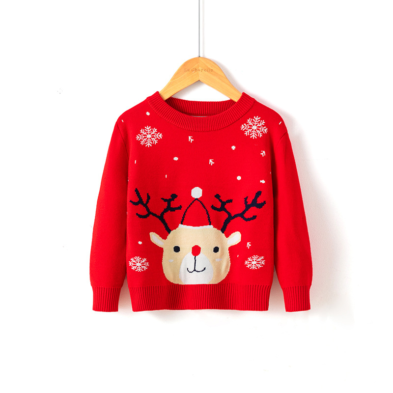 2021 Winter Boys Girls Sweater Christmas Costume Autumn Children Clothing Knitwear Boy Pullover Knitted Sweater Kids Sweaters 3