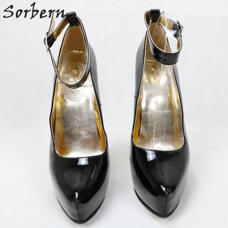 Sorbern/лакированные белые женские туфли лодочки с ремешком на щиколотке; женские туфли с острым носком на каблуке 8 дюймов; размеры 45; женские туфли лодочки на очень высоком каблуке - 6