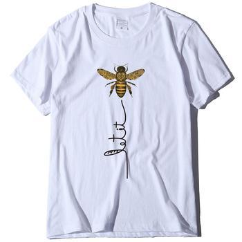 Camiseta de talla grande para mujer de Camiseta de algodón de cuello...