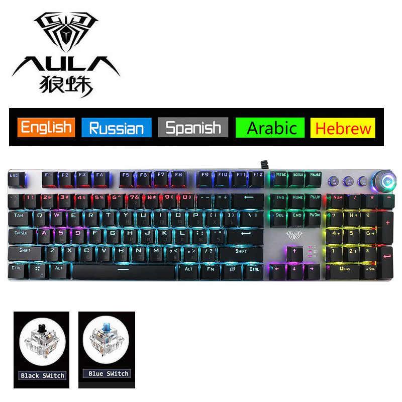 Aula Berputar Makro Backlit Keyboard Mekanik Biru Merah Hitam Switch 104 Kunci LED Computer Game Gaming Keyboard Ibrani Arab