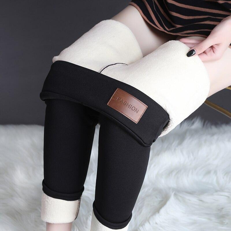 Fashion Pants Women Cotton Pants Plus Velvet Woman Cashmere Thick Stretch Trousers Plus Size Warm Thermal Wool Trousers Women OL