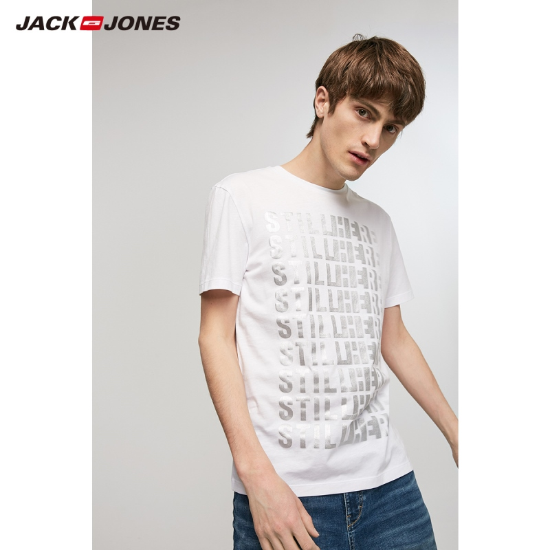JackJones Men's 100% Cotton Letter Print Short-sleeved T-shirt|Streetwear 219201514