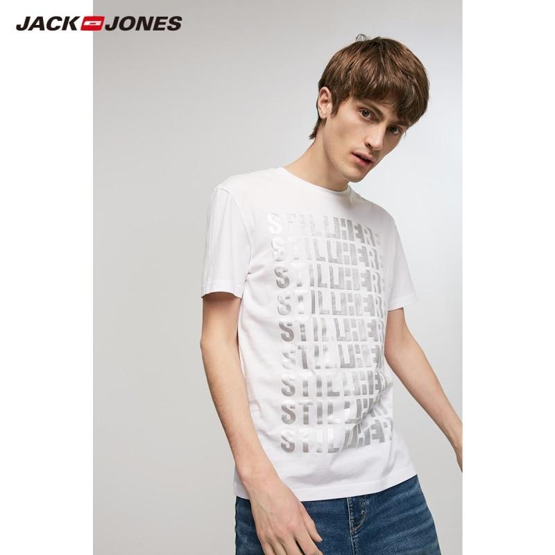 JackJones Men's 100% Cotton Letter Print Short-sleeved T-shirt|Streetwear 219201514
