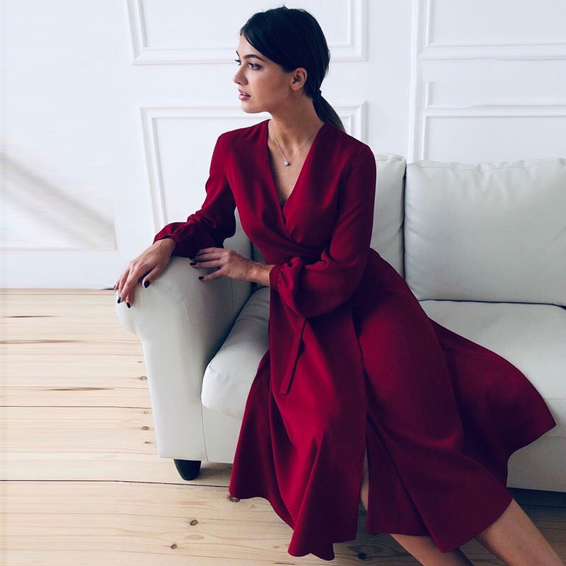 Women Casual A Line Sashes Party Dress Ladies Long Sleeve V Neck Sexy Elegant Solid 2020 Spring Ruffles Fashion Vintage