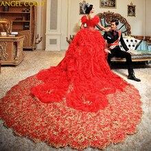 Luxury Royal Dubai Crystal Rhinestone Wedding Dresses Long Rhinestones Puffy Ball Gowns 3D Flower Bridal Dress Abito Da Sposa