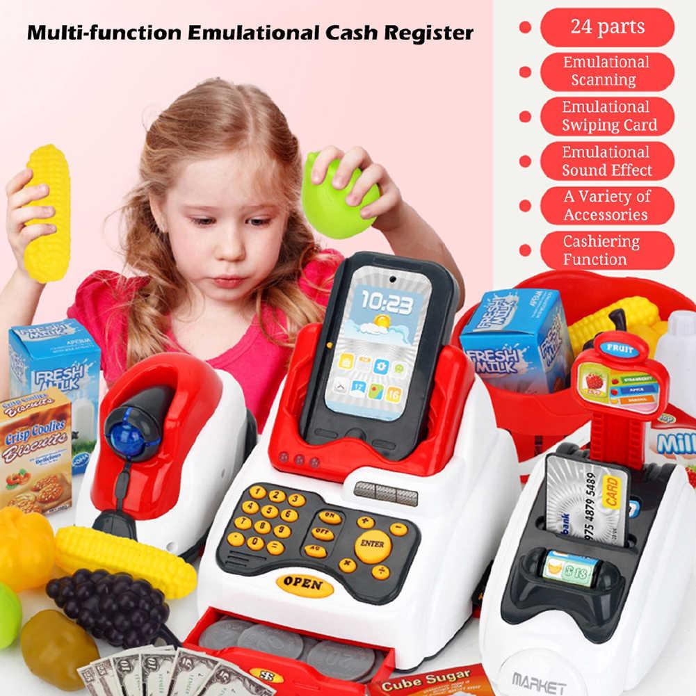 Kids Cash Register Pretend Play Supermarket Shop Till Toy Play Food Game Set