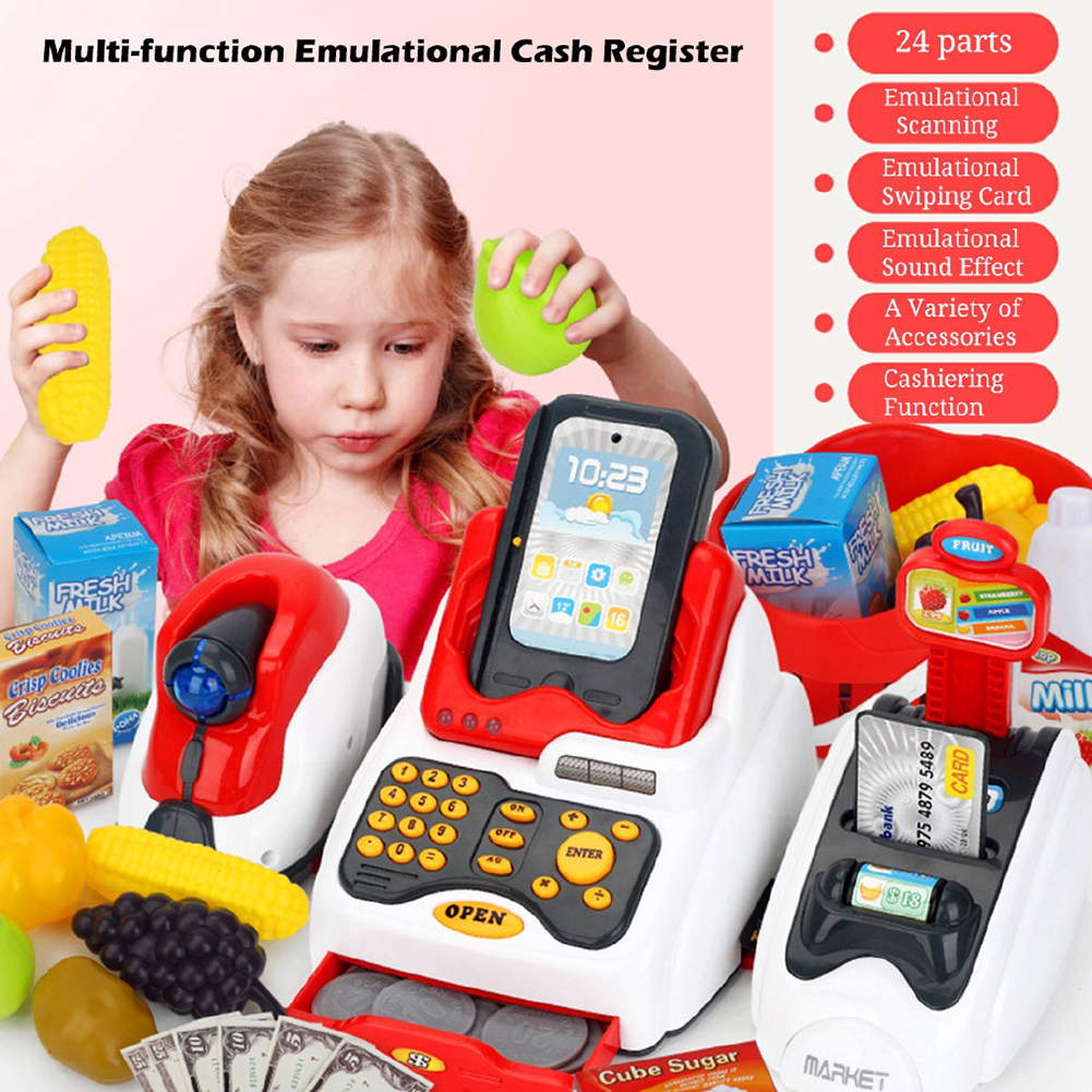 Learning Educational <font><b>Cashier</b></font> Kids Pretend Play Gift Counter Cash Register <font><b>Toy</b></font> Miniature Simulated Model Supermarket House Role image