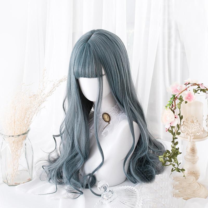 Blue Mixed Gray Lolita Wig Harajuku Cosplay Bangs Body Wave Curly Long Sweet Synthetic Hair for Adult Girls