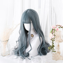 Blue Mixed Gray Lolita Wig Harajuku Cosplay Bangs Body Wave Curly Long Sweet Synthetic Hair for Adult Girls(China)
