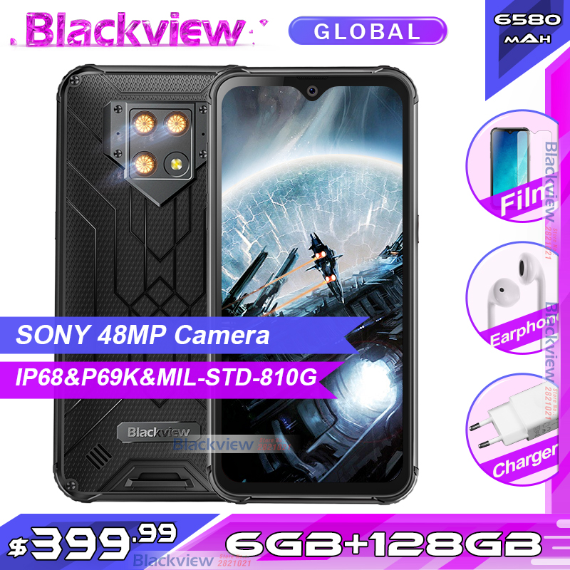 """Blackview BV9800 6GB 128GB IP68 Rugged Smartphone 6.3"""" FHD+ Waterdrop Helio P70 Octa Core Android 9.0 NFC Mobile Phone 6580mAh(China)"""