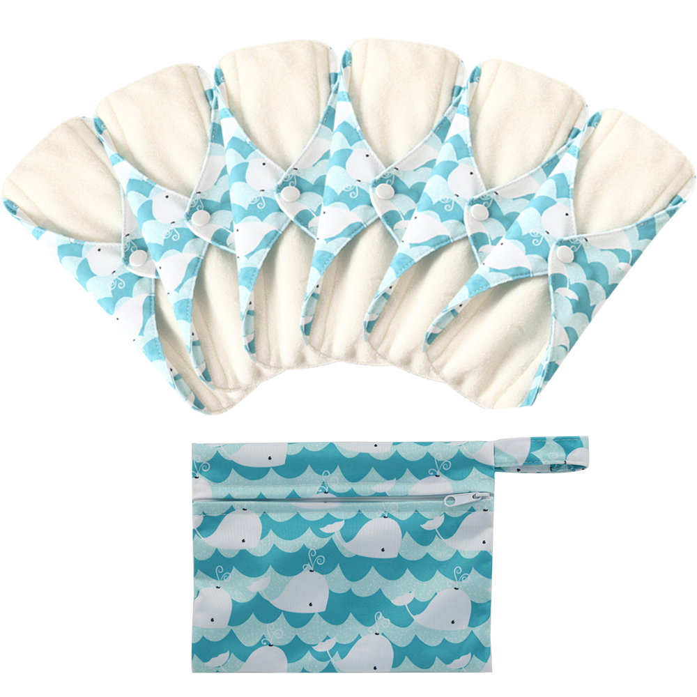 Women Washable Sanitary Pads Toallas Sanitaria Cloth Pads Reusable Character Print Feminine Higiene Pads Panty Liners Size M
