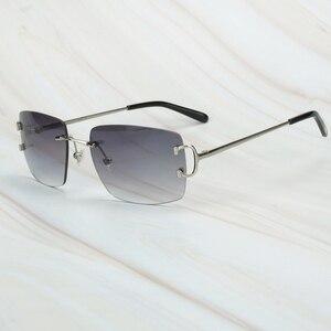 Image 3 - Gafas De Sol sin montura para hombre y mujer, lentes De Sol De lujo, Marco Carter para conducir, cuadradas, accesorios De diseñador