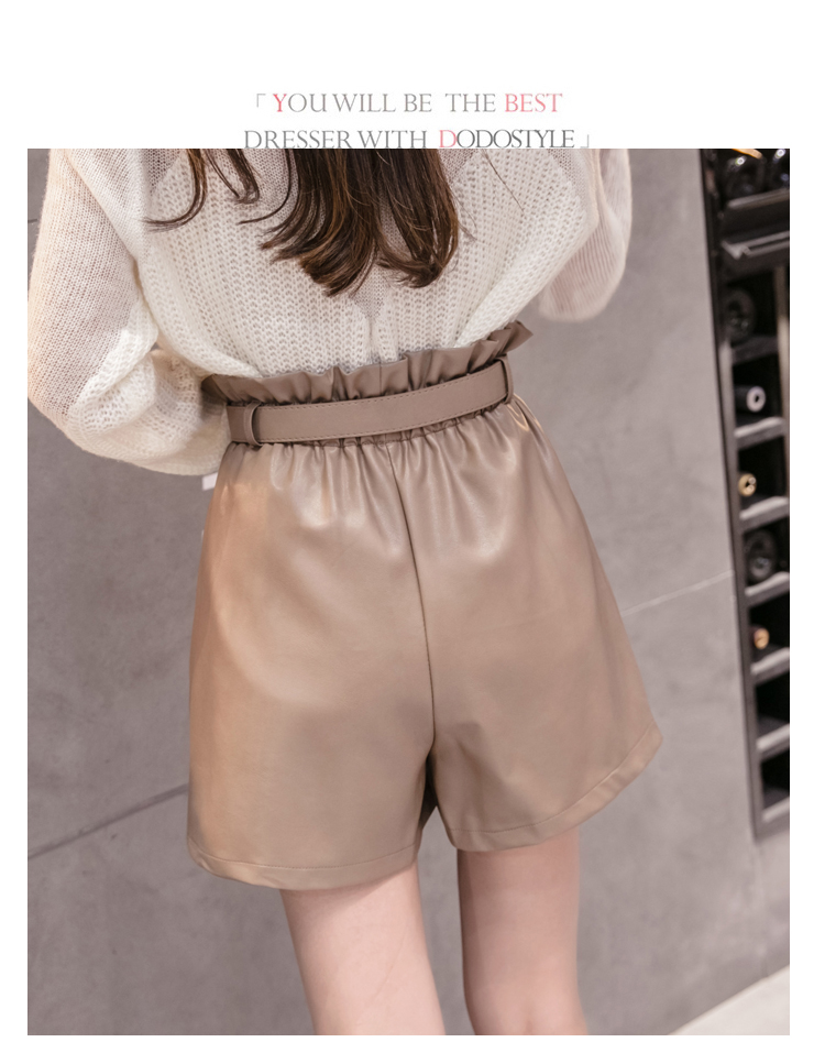 Elegant Leather Shorts Fashion High Waist Shorts Girls A-line  Bottoms Wide-legged Shorts Autumn Winter Women 6312 50 55