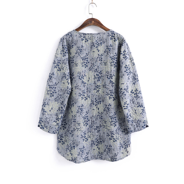 Women Autumn Printed Loose Cotton Linen Blouse Tops Ladies Vintage Shirt Female 2020 Spring Blouses Tops Shirts 2