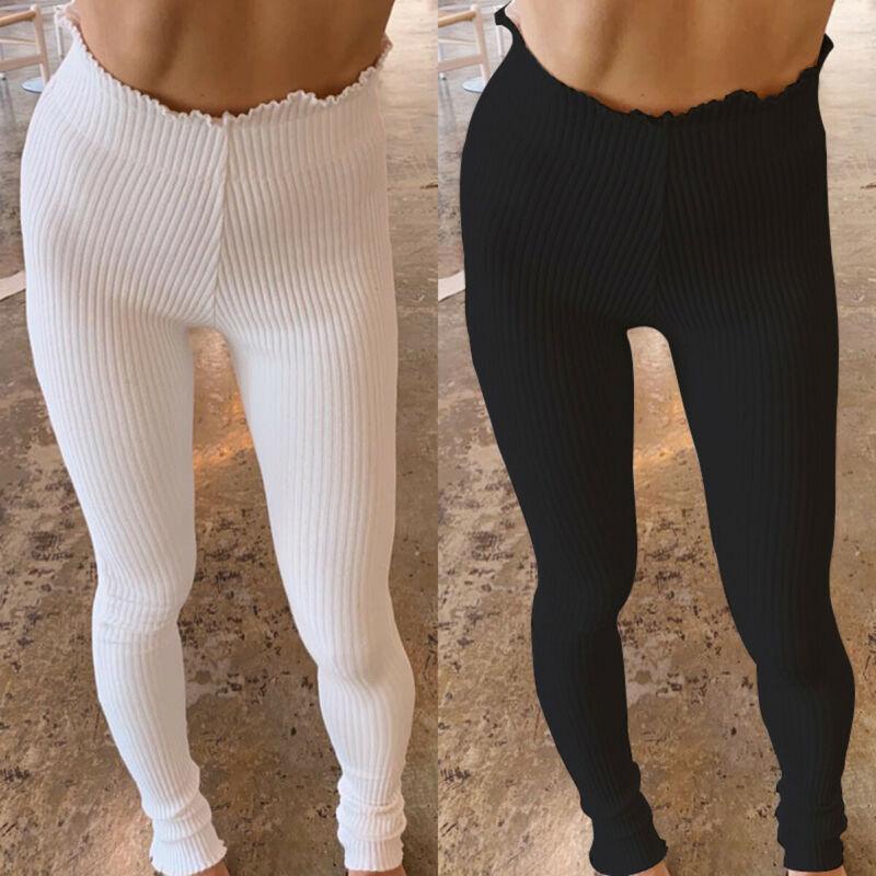 Women Pencil Pants 2019 Autumn Ruffles Elegant White Slim Casual Female Stretch Trousers White Leggings Ribbed Knitted Pant