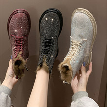 Boots Shoes Woman Rhinestone Bling Black Winter New-Fashion Lace-Up Ankle Round-Toe Red
